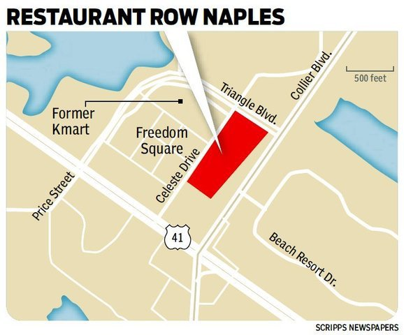 The developer of a 7-acre strip on the edge of Freedom Square shopping center on the corner of Collier Boulevard and U.S. 41 East plans to build at least nine restaurants there in a project called Restaurant Row Naples.